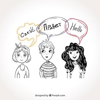 Persone disegnate a mano con fumetti in diverse lingue