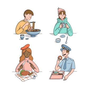 Persone disegnate a mano con raccolta di cibo