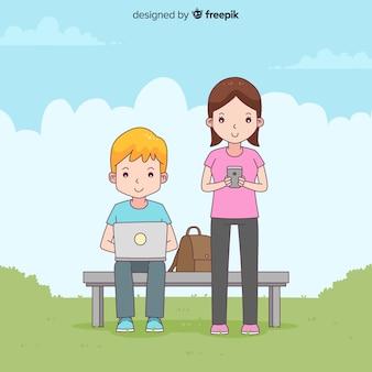 Persone disegnate a mano con sfondo di dispositivo elettronico