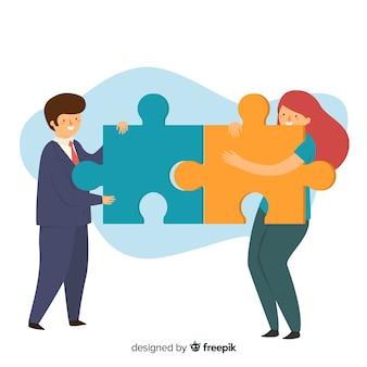 Persone disegnate a mano facendo uno sfondo di puzzle