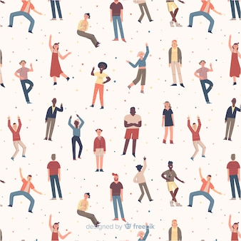 Persone disegnate a mano in movimento sullo sfondo