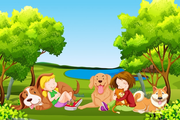 Persone e animali domestici al parco
