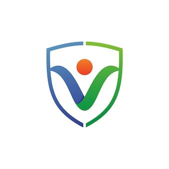 Persone e scudo logo vettoriale