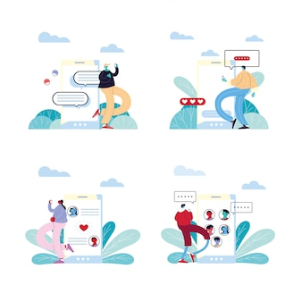 Persone e smartphone in chat, chat bubble