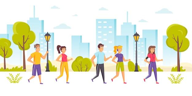 Persone felici che prendono parte a maratona, sprint, competizione sportiva all'aperto