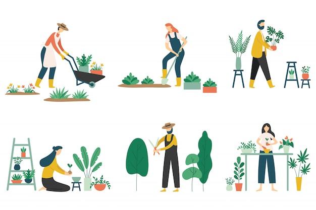 Persone giardinaggio. donna che pianta i fiori dei giardini, l'hobby del giardiniere di agricoltura e l'insieme piano dell'illustrazione di lavoro del giardino