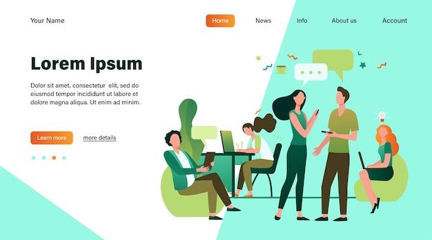 Persone hipster che parlano e utilizzano computer in co-working. riunione del team creativo e lavoro nello spazio aperto. illustrazione di vettore per il posto di lavoro, lavoro di squadra, concetto di affari