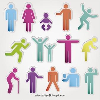Persone icone colorate