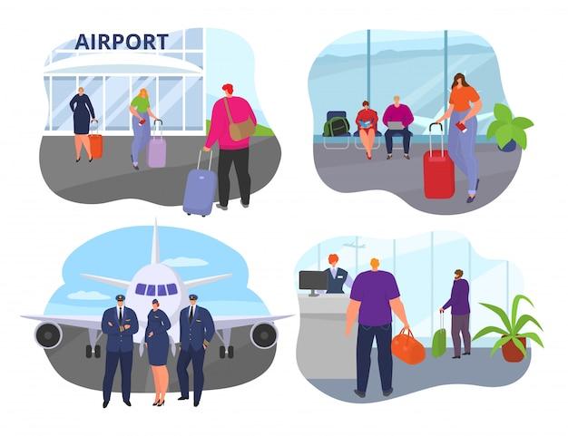 Persone in aeroporto, uomo donna viaggiano con bagagli nell'illustrazione dell'insieme. terminal turistico di partenza. arrivo del passeggero del personaggio per il concetto di raccolta del viaggio.