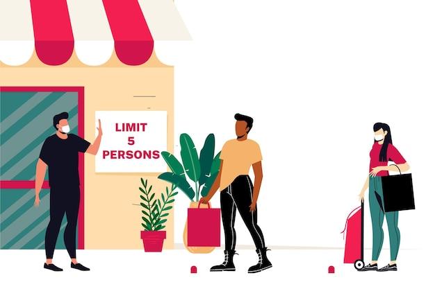 Persone in attesa al di fuori del concetto di allontanamento sociale