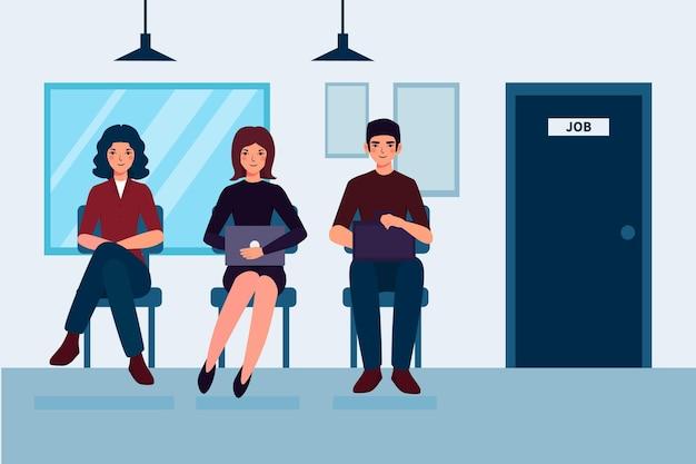 Persone in attesa di un colloquio di lavoro