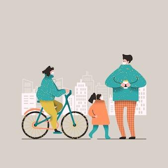 Persone in bianco maschere mediche. famiglia in una passeggiata in città