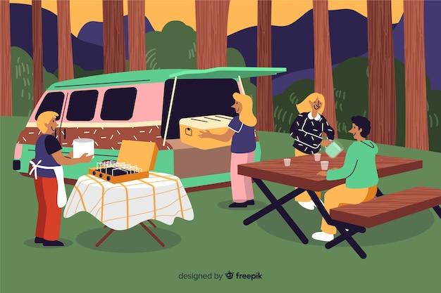 Persone in campeggio sulla natura design piatto
