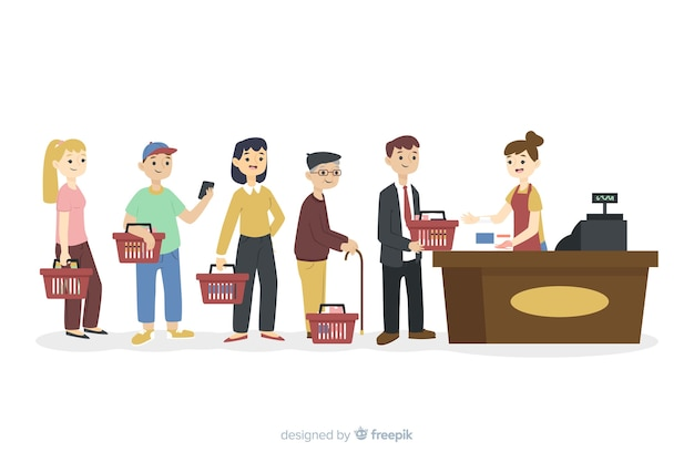 Persone in fila che aspettano di pagare