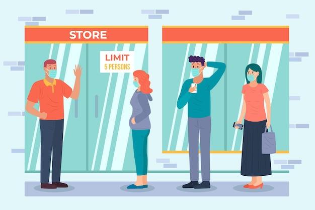 Persone in fila fuori dal negozio