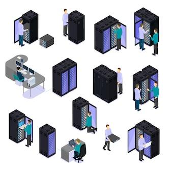 Persone in insieme isometrico del data center