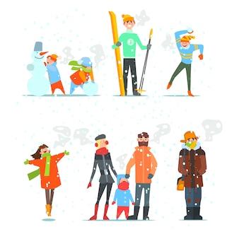 Persone in inverno e attività. illustrazione.
