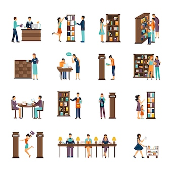 Persone in libreria icon set