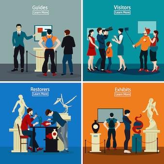 Persone in museo e galleria 2x2 design concept
