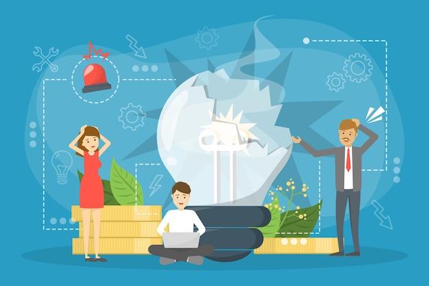 Persone in piedi davanti alla lampadina rotta. concetto di fallimento aziendale