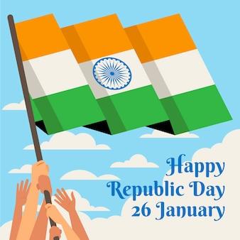 Persone in possesso di bandiera indiana