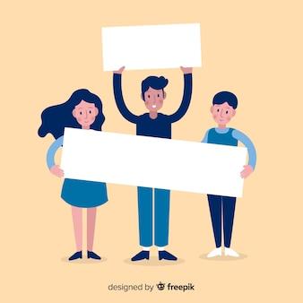Persone in possesso di banner bianco