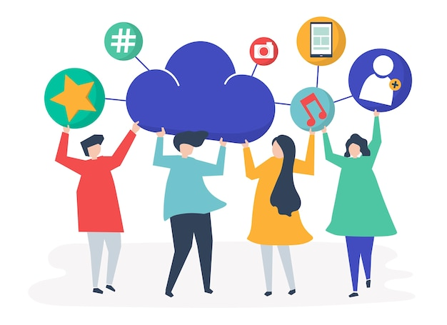 Persone in possesso di icone cloud e social network