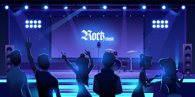 Persone in scena in attesa di un concerto di musica rock. evento
