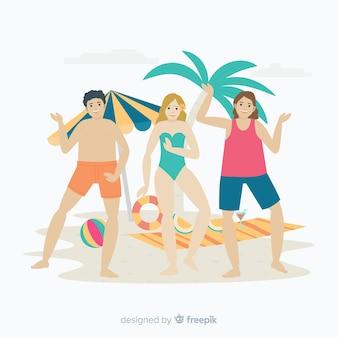 Persone in spiaggia godendo l'estate