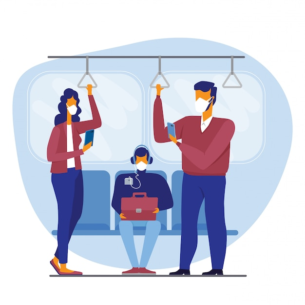 Persone in treno della metropolitana, autobus tram trasporto pubblico indossando maschere mediche per proteggere dal coronavirus, limitando il trasporto di massa per prevenire la malattia da virus corona covid-19 illustrazione di concetto