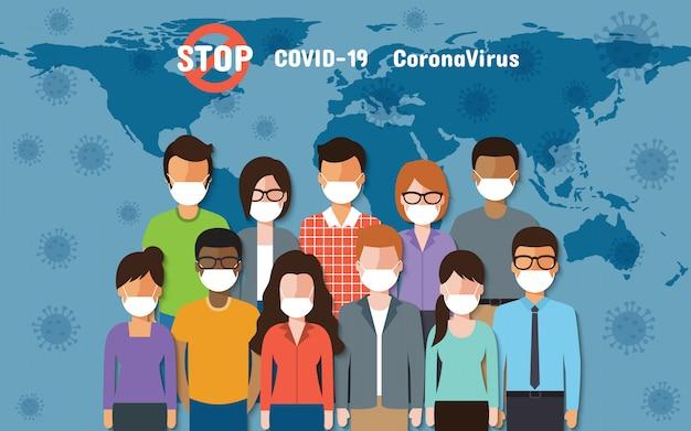 Persone in tutto il mondo che indossano maschere in piedi in lotta per il coronavirus, covid-19 sulla mappa del mondo.
