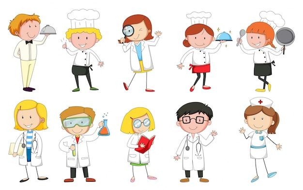 Persone in uniforme che svolgono diverse professioni