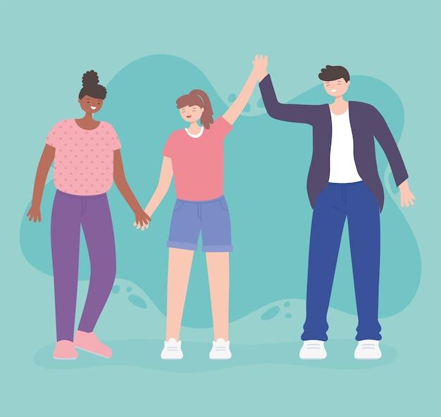 Persone insieme, giovane uomo con donne che si tengono per mano insieme, personaggi dei cartoni animati maschili e femminili