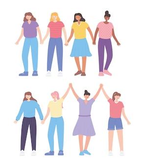 Persone insieme, gruppo di giovani donne personaggi dei cartoni animati femminili
