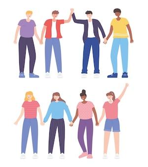 Persone insieme, uomini e donne che si tengono per mano, personaggi dei cartoni animati maschili e femminili