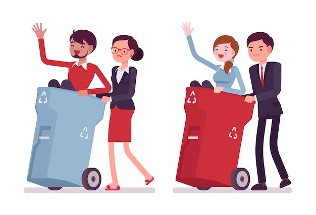 Persone inutili nei bidoni della spazzatura