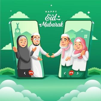 Persone islamiche che salutano con la teleconferenza nella versione due di holiday ramadan.