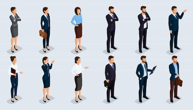 Persone isometriche 3d, uomini d'affari isometrici e donna d'affari affari vestiti movimento umano