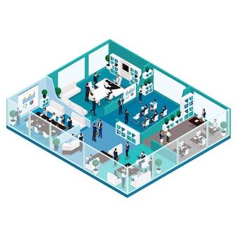 Persone isometriche alla moda, illustrazione di lavoro d'ufficio di una vista frontale del concetto di business con una facciata di vetro, mobili per ufficio, flusso di lavoro, impiegati