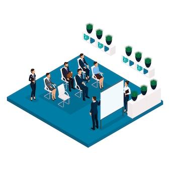 Persone isometriche di tendenza, una stanza, vista posteriore di un allenatore di ufficio, insegnamento di una grande sala ufficio, formazione, incontro, lezione, business coach, affari e imprenditrice in giacca e cravatta