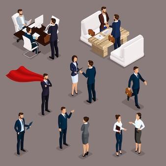 Persone isometriche uomini d'affari isometrici, uomo d'affari e donna d'affari, abiti da lavoro lavoro, brainstorming, lavoro di squadra, incontro di lavoro