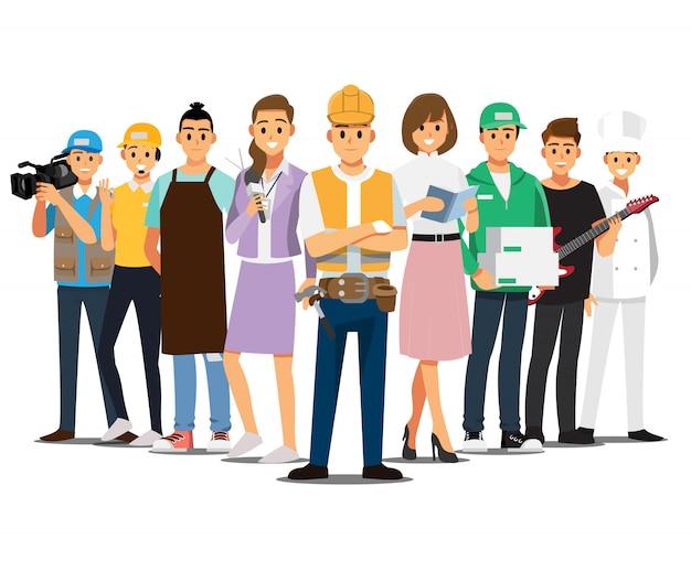 Persone lavoro impostato, personaggio dei cartoni animati di illustrazione.