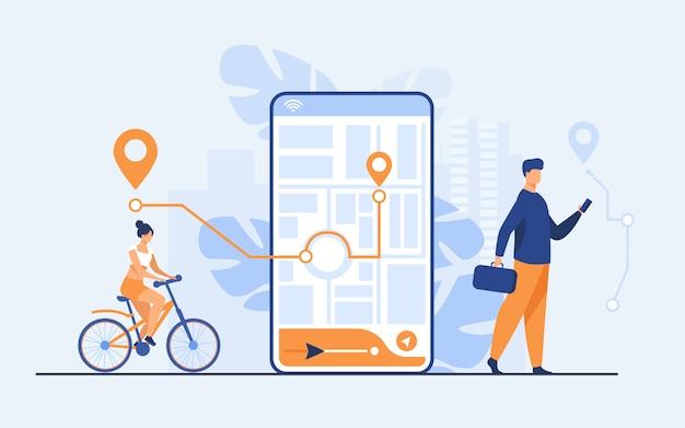Persone minuscole che utilizzano applicazioni mobili con mappa all'aperto