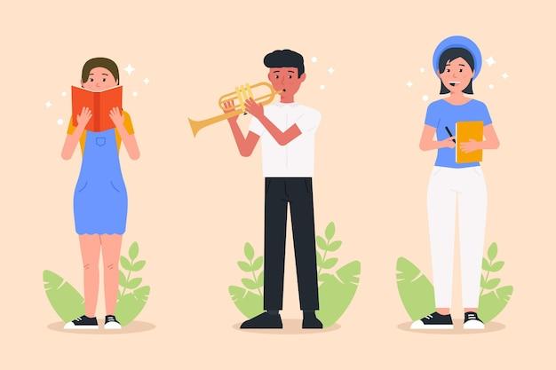 Persone moderne che svolgono attività culturali