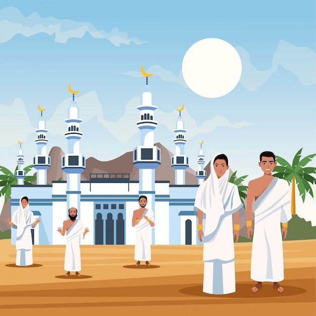 Persone musulmane nel disegno dell'illustrazione di vettore di celebrazione di viaggio di hajj mabrur