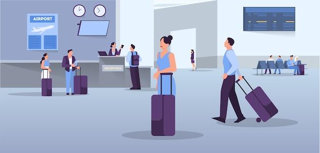 Persone nel concetto di banner web aeroporto. idea di viaggio e vacanza. arrivo in aereo. illustrazione