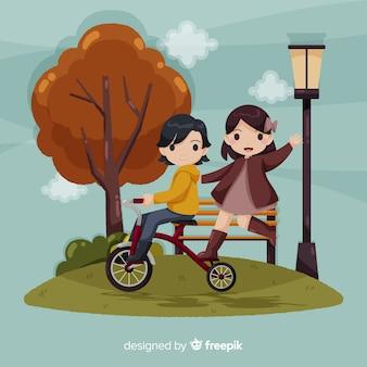 Persone nel parco d'autunno