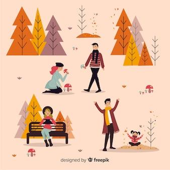 Persone nel parco in autunno