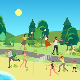 Persone nel parco pubblico. divertirsi, fare sport e riposare nel parco cittadino. attività estiva.