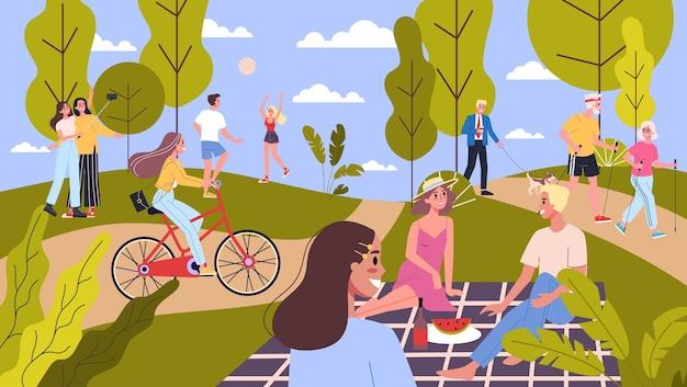 Persone nel parco pubblico. portare a spasso un cane, fare sport e riposare nel parco cittadino. attività estiva, picnic nel parco. illustrazione